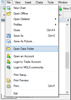 Metatrader - open data folder