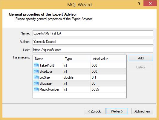 MetaEditor - MQL Wizard